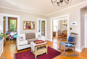 Eclectic Living Room with Crown molding, Pottery Barn Cameron Square Arm Upholstered Sofa, Hardwood floors, Chandelier