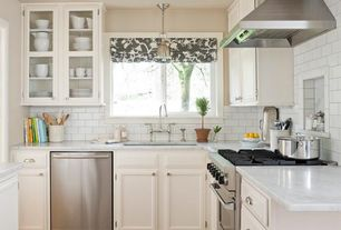 Traditional Kitchen with Hardwood floors, Complex marble counters, 2 in. Quartz Countertop in Lagoon, Raised panel, L-shaped