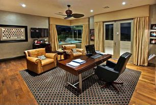 Traditional Home Office with Hardwood floors, French doors, Ceiling fan