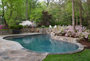 Traditional Swimming Pool with Fence, Raised beds, Pathway, exterior stone floors