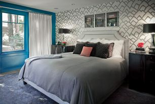 Contemporary Master Bedroom with interior wallpaper, Hardwood floors, Casement, Lacquer finish side tables, Standard height