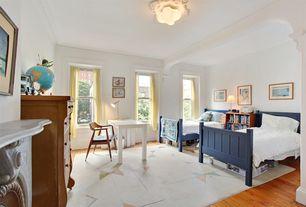 Traditional Kids Bedroom with Crown molding, flush light, Hardwood floors, Exposed beam