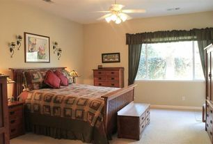 Traditional Master Bedroom with Carpet, Ceiling fan