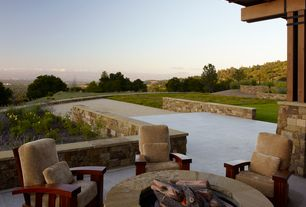 Contemporary Patio with Fire pit, exterior tile floors, Column, Pathway, Fence, Natural stone surround