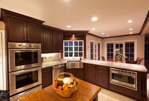 Modern Kitchen with Framed Partial Panel, dishwasher, warming oven, Complex granite counters, L-shaped, full backsplash