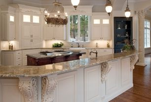 Traditional Kitchen with Raised panel, Inset cabinets, Crown molding, Complex granite counters, Glass panel, Pendant light