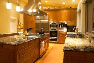 Traditional Kitchen with Raised panel, High ceiling, Onyx, gas range, Kitchen island, Island Hood, Pendant light, U-shaped