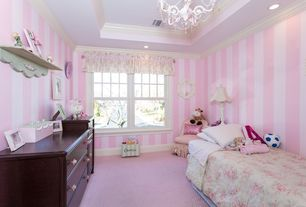 Traditional Kids Bedroom with Carpet, double-hung window, no bedroom feature, Chandelier, interior wallpaper, Standard height