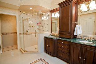 Traditional Master Bathroom with frameless showerdoor, Arizona tile, APHRODITE, granite, Ceramic Tile, Master bathroom, Flush