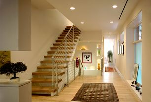 Contemporary Staircase with Afghan rug, Bokhara  yamut rug