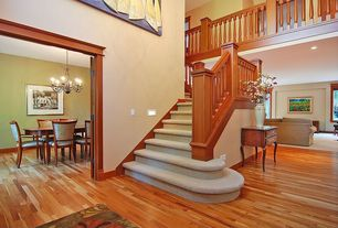 Craftsman Staircase with Hardwood floors, curved staircase, can lights, High ceiling, Loft