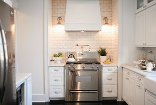 Traditional Kitchen with Brushed stainless double handle wall mounted pot filler from the hirise series, Farmhouse sink