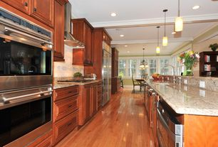 Contemporary Kitchen with One-wall, Built In Refrigerator, Undermount sink, warming oven, Raised panel, Simple Granite