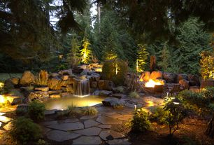 Rustic Landscape/Yard with exterior stone floors, Pond, Hinkley Lighting 1502 LED Path Light, Fire pit