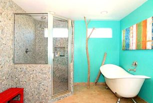 Eclectic Master Bathroom with Shower, Paint 1, Master bathroom, Pebble tile, Paint 2, Rain shower, Clawfoot, Bathtub