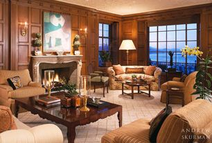Craftsman Living Room with stone fireplace, Hardwood floors, Crown molding, Wall sconce, Selectives Summer Metal Hurricane