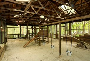 Rustic Playroom with Indoor playground, Columns, Exposed beam, Gorilla playsets toddler bucket assembly, Slide, Skylight