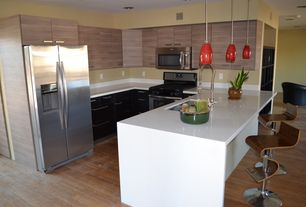 Contemporary Kitchen with Standard height, Flush, gas range, can lights, Multiple Sinks, European Cabinets, Pendant light