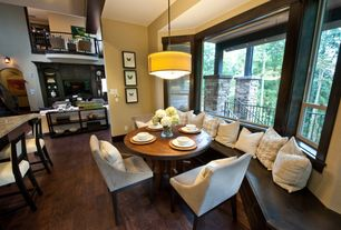 Modern Dining Room with High ceiling, Safavieh britannia side chair, Pendant light, Hardwood floors, Window seat