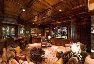 Traditional Basement with sandstone floors, Box ceiling, Built-in bookshelf