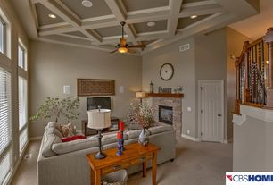 Traditional Living Room with Box ceiling, Reclaimed Timber Mantle, Ethan Allen Bennett Roll-Arm Sectional, Carpet