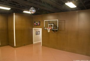 Contemporary Game Room with flush light, High ceiling, can lights, Concrete tile