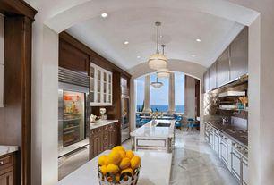 Contemporary Kitchen with partial backsplash, High ceiling, arizona tile, BIANCO CARRARA, marble, Flush, Flat panel cabinets