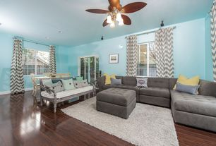 Contemporary Great Room with Ceiling fan, VOLO Kellan Right Sectional Sofa, Oak - Cocoa Bean 5 in. Solid Hardwood Wide Plank