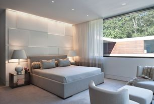 Contemporary Master Bedroom with Sheer curtains, Carpet, picture window, Tailored bedding, Custom milled mdf panels