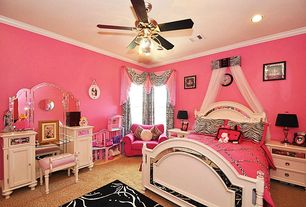 Eclectic Kids Bedroom with Ceiling fan, Carpet, Crown molding, Standard height, can lights, no bedroom feature