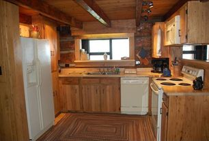Rustic Kitchen with Freestanding Full Size Top Freezer Refrigerator, Raised panel, Standard height, U-shaped, Multiple Sinks