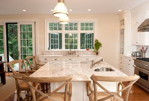 """Cottage Kitchen with Complex marble counters, Safavieh Eleanor 30.7"""" Bar Stool, L-shaped, Undermount sink, Inset cabinets"""