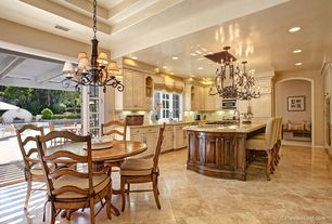 Traditional Kitchen with Troya Marble Tile - Brushed Mochaccino, Stone Tile, French doors, Simple granite counters, U-shaped