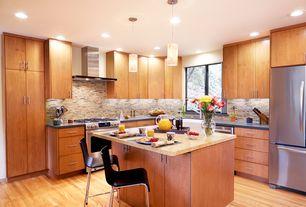 Contemporary Kitchen with Farmhouse sink, Ceramic Tile, Pendant light, L-shaped, Kitchen island, Breakfast bar, gas range