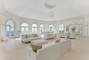 Contemporary Living Room with French doors, Arched window, flush light, High ceiling, Wall sconce, Concrete floors