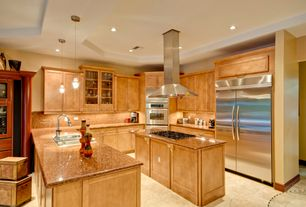 Contemporary Kitchen with U-shaped, Pendant light, Simple granite counters, Glass panel, Flat panel cabinets, Flush