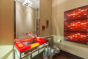 Eclectic Powder Room with Onyx counters, Neo-Metro Ebb Concept Console Table and Basin, Powder room, Hardwood floors