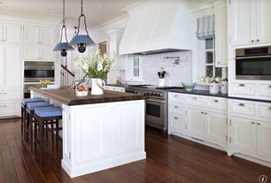Traditional Kitchen with Vintage Barn Pendant, L-shaped, Flat panel cabinets, Pendant light, Crown molding, Wood counters