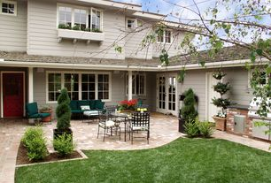 Traditional Patio with Raised beds, Outdoor kitchen, exterior brick floors, French doors, Screened porch