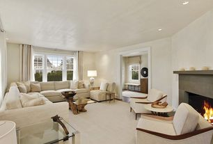Contemporary Living Room with can lights, Standard height, Carpet, double-hung window, Fireplace, Cement fireplace