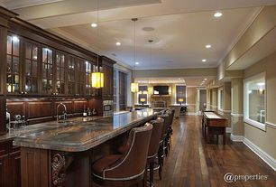 Traditional Bar with Built-in bookshelf, can lights, Crown molding, picture window, Standard height, Pendant light
