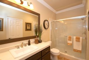 Traditional Full Bathroom with Inset cabinets, Wall Tiles, wall-mounted above mirror bathroom light, Full Bath, Raised panel