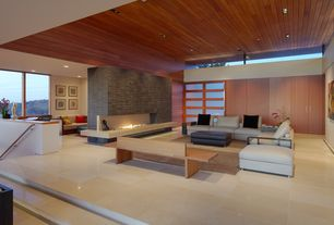 Contemporary Living Room with stone tile floors, Shoji door, stone fireplace, Standard height, Fireplace, can lights