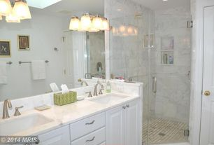 Traditional Master Bathroom with Feiss delaney 3-light polished nickel amity light, Double sink, Master bathroom, can lights