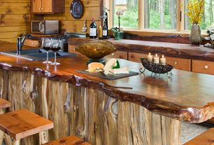 Rustic Kitchen with Multiple Sinks, Casement, Standard height, Wood counters, Inset cabinets, Multiple Refrigerators