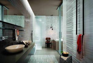 Contemporary Master Bathroom with Slate counters, Skylight, Master bathroom, Vessel sink, French doors, Slate, Rain shower