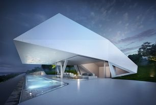 Contemporary Swimming Pool with sliding glass door, Infinity pool, exterior tile floors, Pathway, Fence
