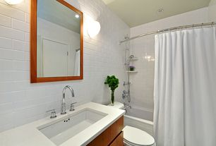 Contemporary Full Bathroom with shower bath combo, tiled wall showerbath, Pental Quartz Super White Honed, Undermount sink