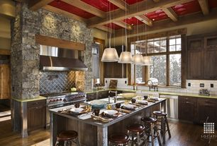 Rustic Kitchen with Casement, Paint 1, High ceiling, Pendant light, Subway Tile, Quartz countertop, Double oven gas range