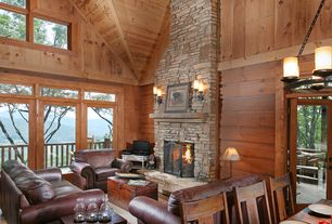 Rustic Great Room with Balcony, Wood panel ceiling, Cathedral ceiling, Chandelier, stone fireplace, Wood panel wall